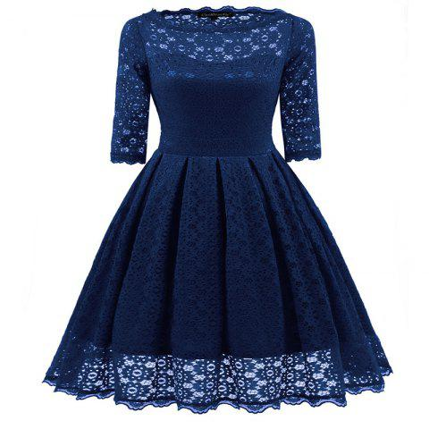 New Women's Vintage Floral Half Sleeve Flare Cocktail Party Dress