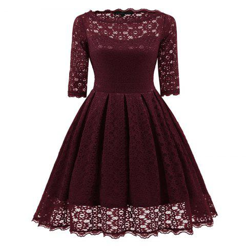 Женское Vintage Floral Half Sleeve Flare Cocktail Party Dress