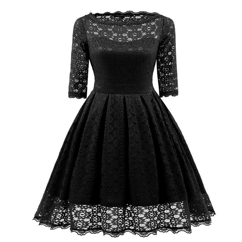 Cheap Women's Vintage Floral Half Sleeve Flare Cocktail Party Dress