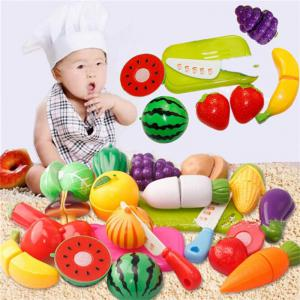 New Fruit Cutting Set Role Play Pretend Reusable Vegetable Food Kitchen 20pcs -