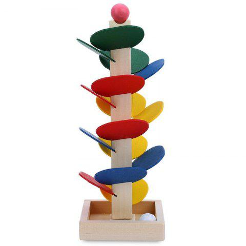 Chic Wooden Building Blocks Toy Tree for Children Marble Ball Run Track Game