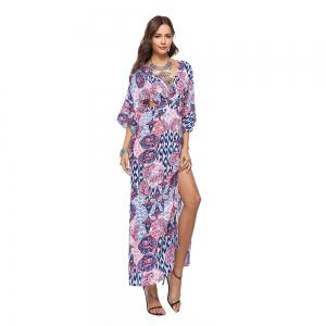 V-Neck Three Quarter Sleeves Printed Women's Dress -