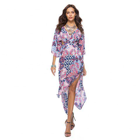 Trendy V-Neck Three Quarter Sleeves Printed Women's Dress
