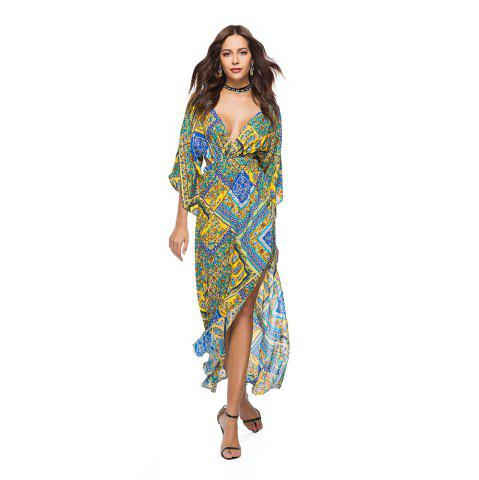 Affordable V-Neck Three Quarter Sleeves Printed Women's Dress
