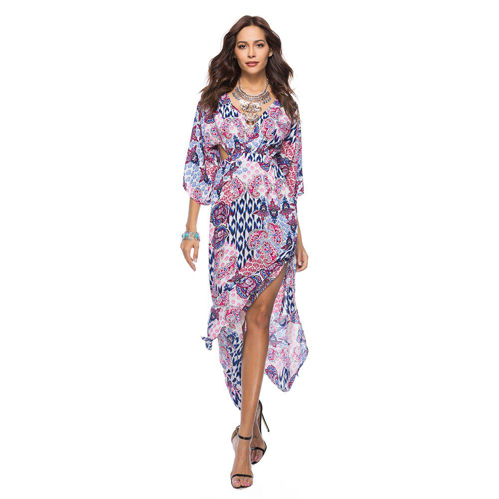 Buy V-Neck Three Quarter Sleeves Printed Women's Dress
