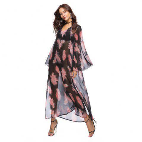 Trendy Printed Chiffon V-Neck Dress