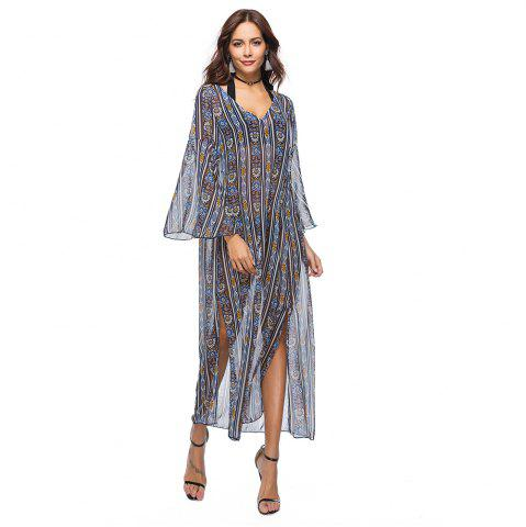 Sale Printed Chiffon V-Neck Dress