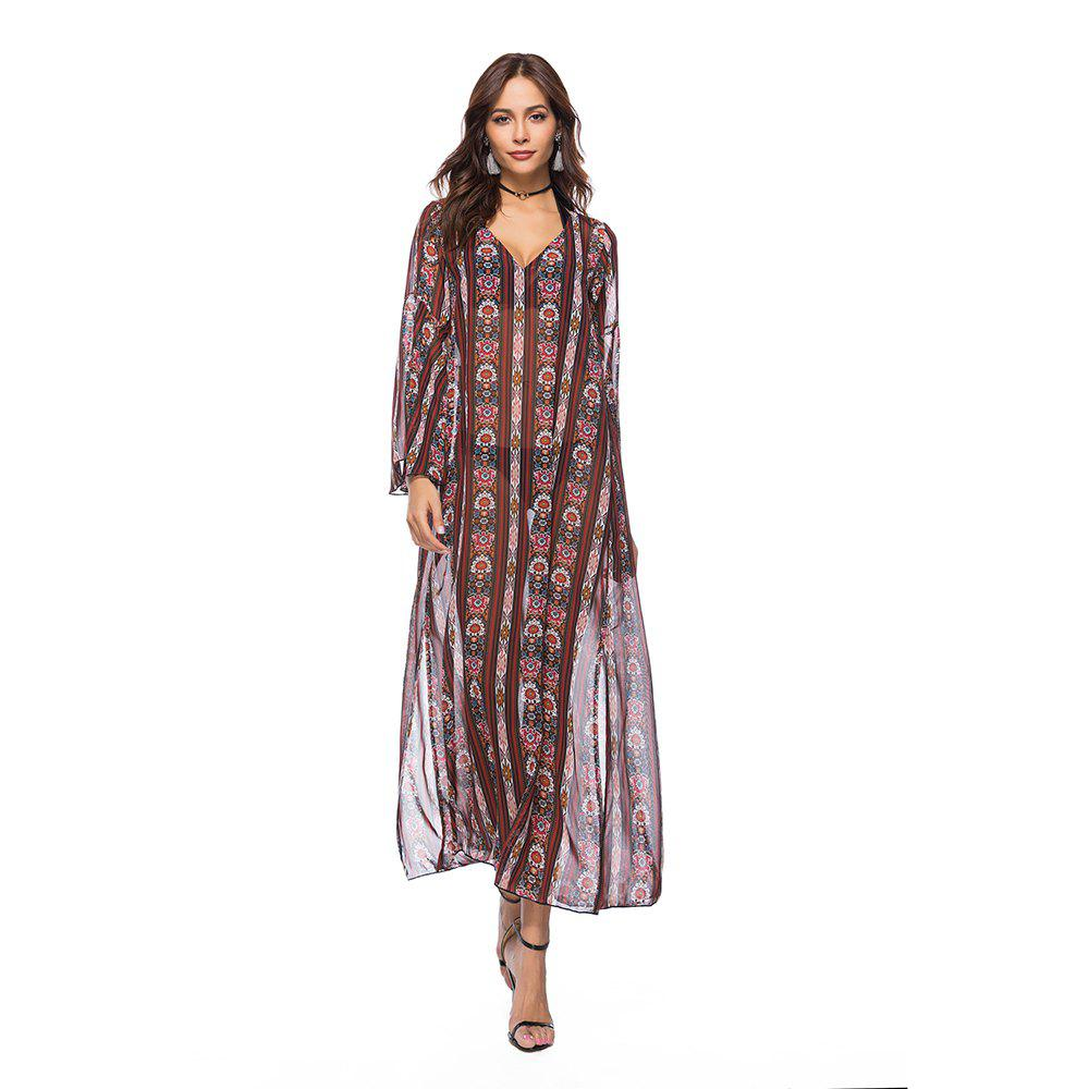 Store Printed Chiffon V-Neck Dress