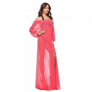Gauze Off Shoulder Chiffon Dress -