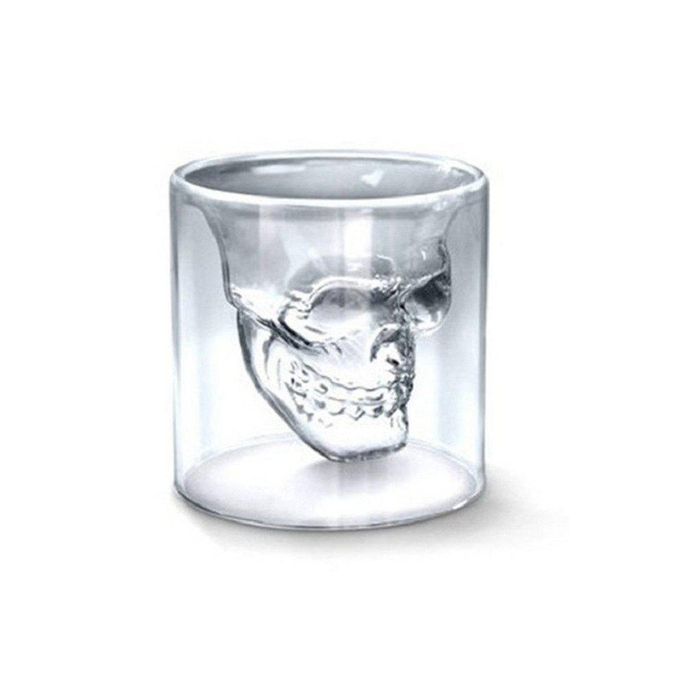 Online Creative Skull Transparent Beer Red Wine Whiskey Coffee Milk Tea Glass Skeleton Water Cup Mug 75ML