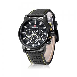 FAERDUO 8215 Mens Leather Strap Quartz Fashion Casual Sport Multifunctional Watches -