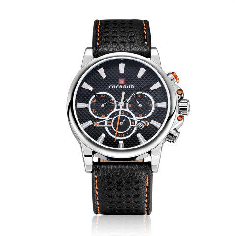 Fancy FAERDUO 8215 Mens Leather Strap Quartz Fashion Casual Sport Multifunctional Watches