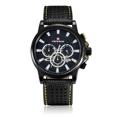 Trendy FAERDUO 8215 Mens Leather Strap Quartz Fashion Casual Sport Multifunctional Watches