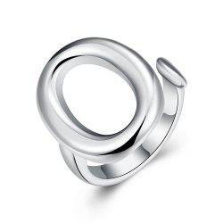 Adjustable Ellipse Silver Plated Ring -