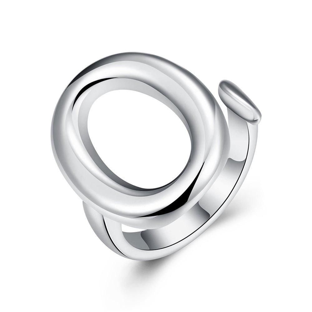 Affordable Adjustable Ellipse Silver Plated Ring