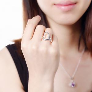 Adjustable Silver Plated Heart Shape Ring Charm Jewelry -