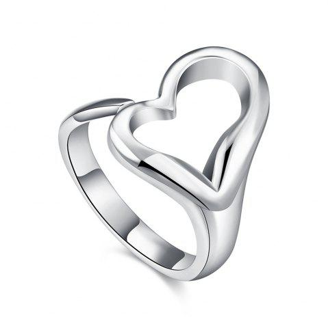 Hot Adjustable Silver Plated Heart Shape Ring Charm Jewelry