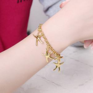 Korean Style Romantic Starfish Pendant Chain Bracelet for Women Charm Jewelry -