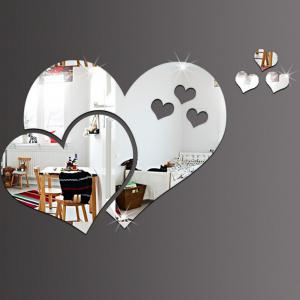 DIY Three-dimensional Mirror Heart-shaped Wall Stickers -