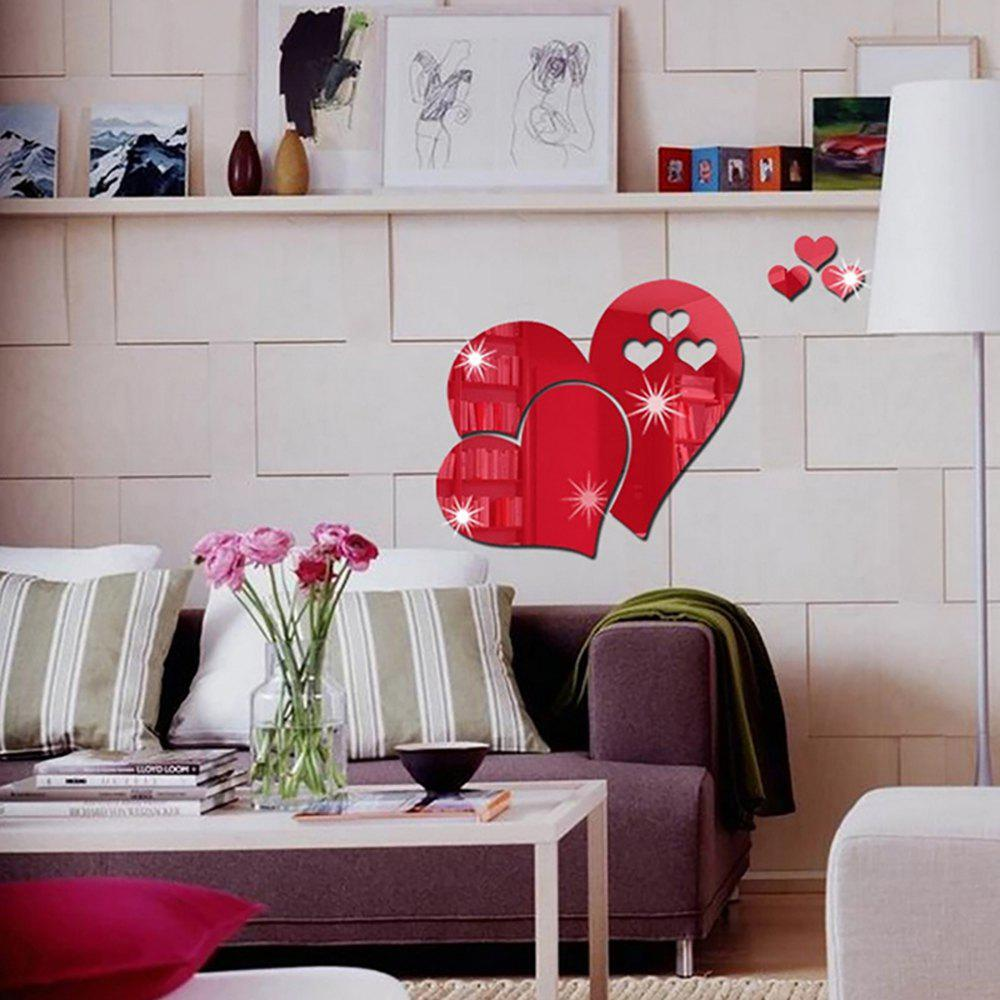 Online DIY Three-dimensional Mirror Heart-shaped Wall Stickers