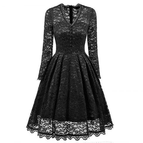 Cheap Women's Summer Robe Rockabilly Tunic Lace Evening Party Dress