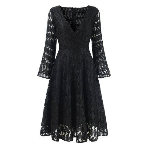 Fancy Women's Spring Hollow Out V-Neck Lace Sexy Party Dress