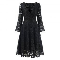 Women's Spring Hollow Out V-Neck Lace Sexy Party Dress -