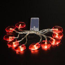 Red Fruit String Lights LED Home Decor Light Home Garden Battery Powered 1.65M 10 LED -