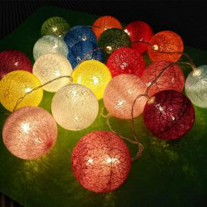 Cotton Ball Colormix Ball String Lights Fairy LED Home Decor Light Home Garden of Battery Powered 1.65M 10 LED -