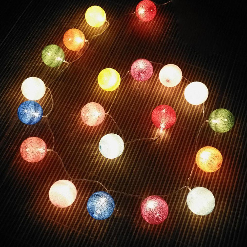 Outfit Cotton Ball Colormix Ball String Lights Fairy LED Home Decor Light Home Garden of Battery Powered 1.65M 10 LED