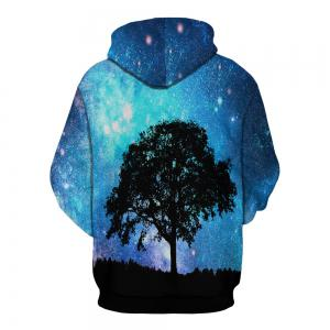 3D Landscape Print Hooded  with A Cap Pullover for Men -