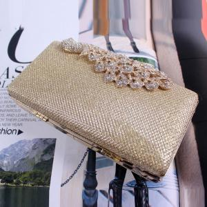 Women Bags Poly Urethane Metal Evening Bag Crystal Rhinestone For Wedding Event Party Formal -