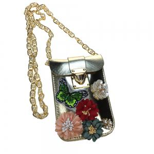 Women Bags PU leatherette Mobile Phone Bag Rhinestone Appliques Satin Flower Sparkling Glitter Pearl Detailing Bead Flor -