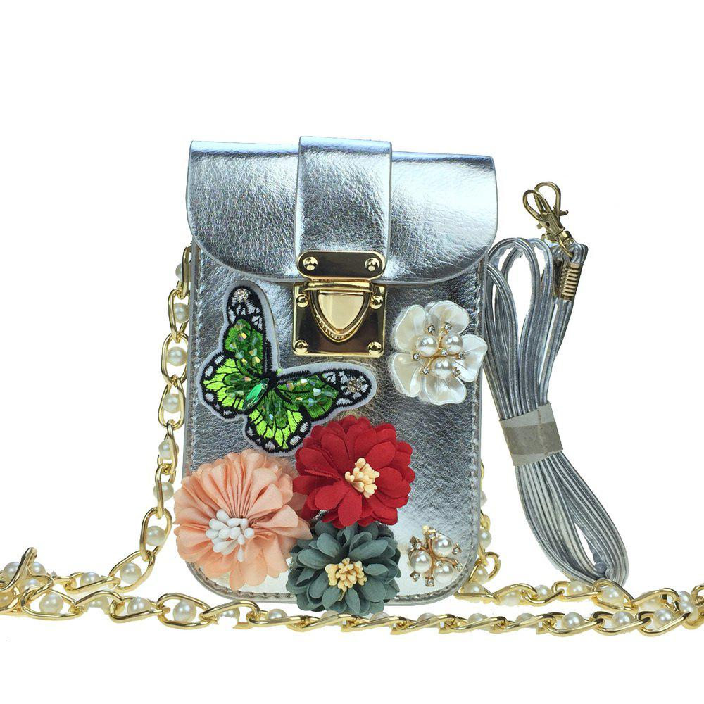 Online Women Bags PU leatherette Mobile Phone Bag Rhinestone Appliques Satin Flower Sparkling Glitter Pearl Detailing Bead Flor