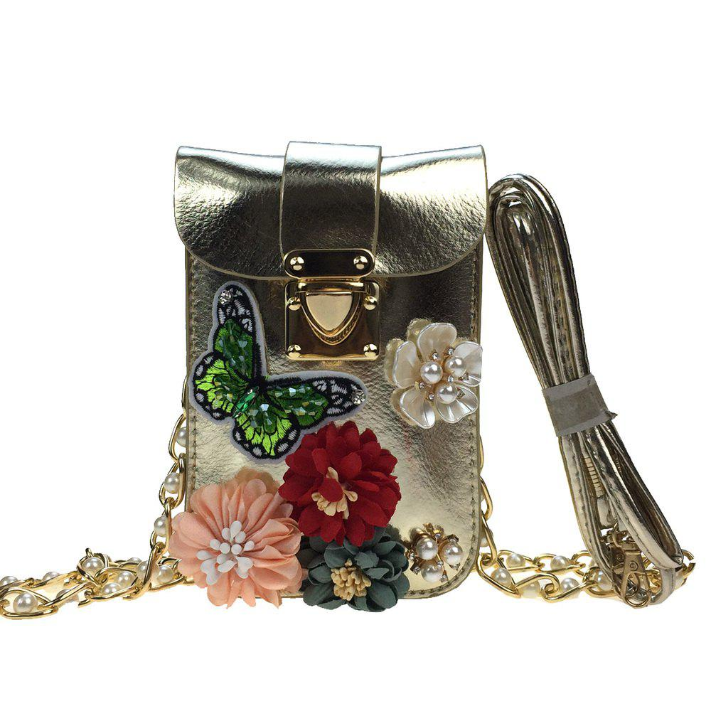 Buy Women Bags PU leatherette Mobile Phone Bag Rhinestone Appliques Satin Flower Sparkling Glitter Pearl Detailing Bead Flor