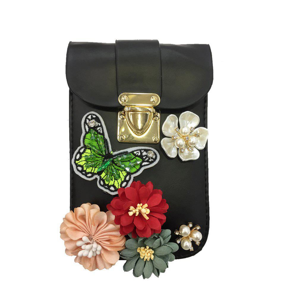 Outfits Women Bags PU leatherette Mobile Phone Bag Rhinestone Appliques Satin Flower Sparkling Glitter Detailing Bead Flor