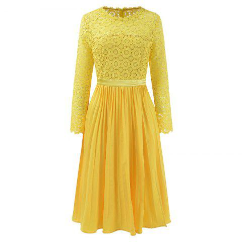 Trendy 2018 Spring Women's Floral Crocht Hollow Out Patchwork Lace Dress