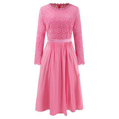 2018 Printemps Femmes Floral Crocht évider Patchwork Dentelle Dress