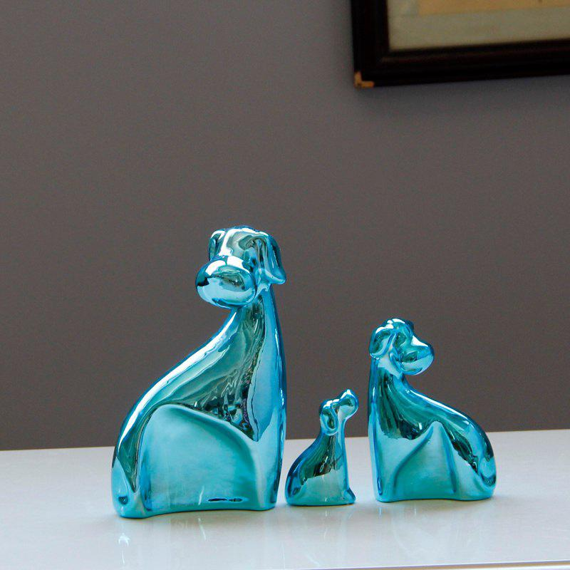 New 3PCS/SET Simple Modern Ceramic Dog Sitting Room Bedroom Home Decoration Birthday Gift