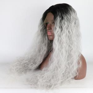 Silver Black Root Long Curly Heat Resistant Synthetic Hair Lace Front Wigs for Women -