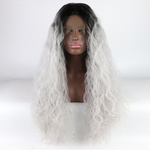 Fashion Silver Black Root Long Curly Heat Resistant Synthetic Hair Lace Front Wigs for Women