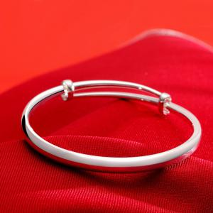 Fashion Circle Smooth Alloy Bangle Adjustable Bracelet Charm Jewelry -