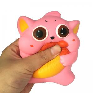 Jumbo Squishy PU Slow Rising Stress Relief Toy Replica Cartoon Cat Holding An Apple for Adults -