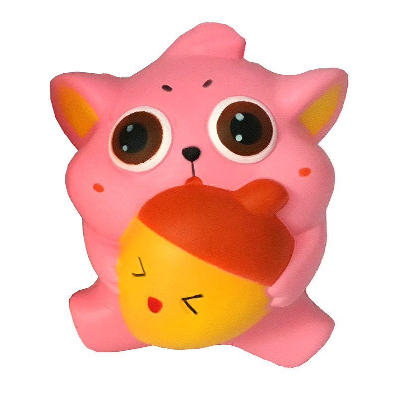 Fashion Jumbo Squishy PU Slow Rising Stress Relief Toy Replica Cartoon Cat Holding An Apple for Adults