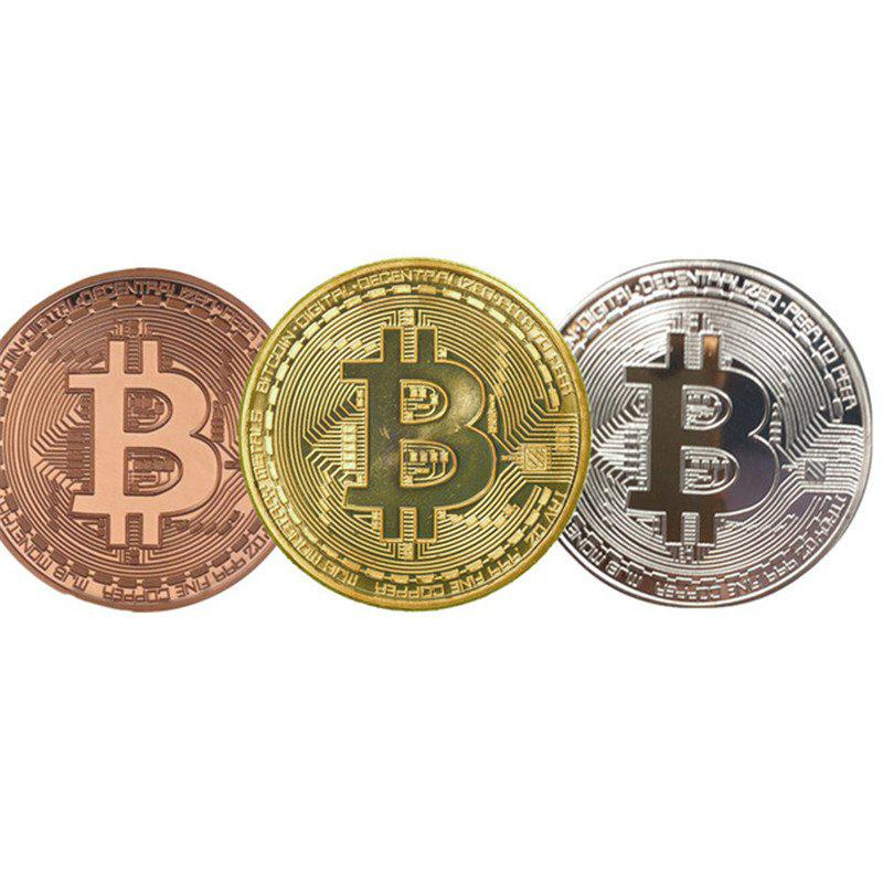 Chic 3 Pcs Gold Plated Coin Collectible BitCoin Art Collection Gift Physical