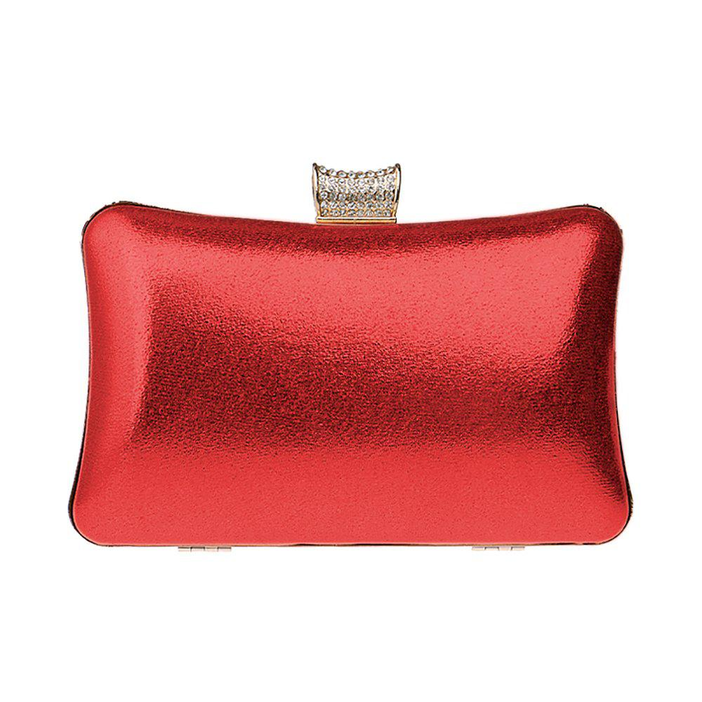 Fashion Women Leatherette Evening Bag Buttons Crystal Detailing Wedding Event Party