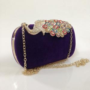 Women Bags Velvet Evening Bag Buttons Crystal Detailing Wedding Event Party Formal -