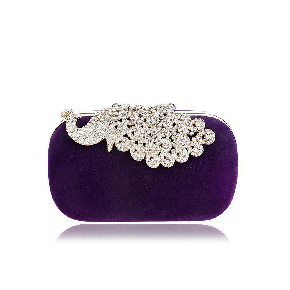 Store Women Clutch Bags Velvet Evening Bag Buttons Crystal Detailing Wedding Event Party Formal