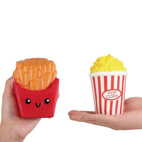 Online Jumbo Squishy PU Slow Rising Stress Relief Toy Replica Combination of French Fries with Popcorn for Adults 2PCS