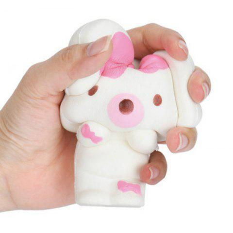 Online Jumbo Squishy PU Slow Rising Stress Relief Toy Replica Cartoon Pink Bow Rabbit for Adults